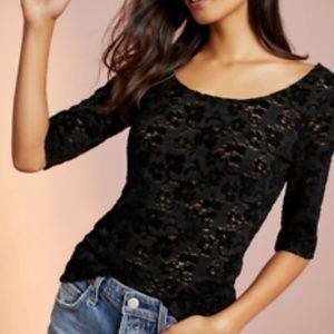 Anthropologie Pure + Good Black Lace Top XS